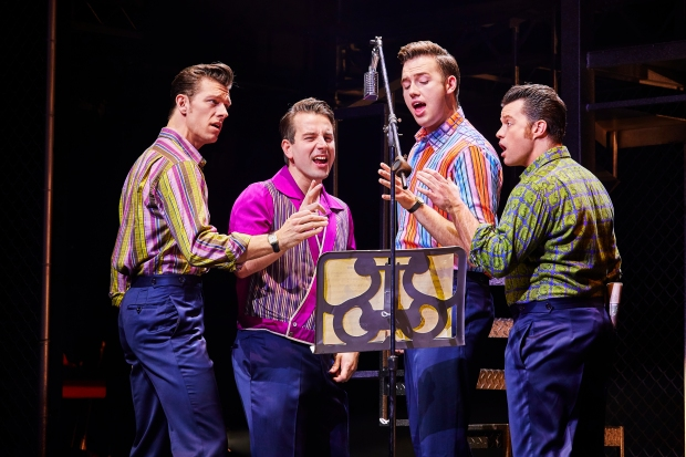 L to R Lewis Griffiths, Michael Watson, Declan Egan & Simon Bailey in JERSEY BOYS. Credit Brinkhoff & M ¦genburg.jpg